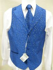 Men's Suit Tuxedo Dress Vest Necktie Bowtie Hanky Set Royal Blue Paisley Design