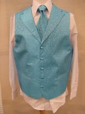 Men's Suit Tuxedo Dress Vest Necktie Bowtie Hanky Set Turquoise Paisley Design