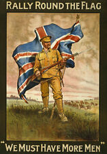 WA39 Vintage WWI Rally Round The Flag British Recruitment Poster WW1 A1 A2 A3