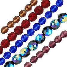 "6"" Strands Czech Fire Polished Round Beads - 5 sizes & 12 Colours to choose from"