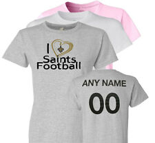Personalized I Love Saints Football Ladies T-Shirt New Orleans Fans Heart to 6XL
