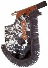 GENUINE HAIR ON FANCY WESTERN LEATHER HORSE SADDLE CHINKS CHAPS ROPING OR GAMES