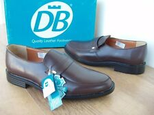 DB EXTRA WIDE BROWN LEATHER SLIP ON SMART CASUAL FORMAL SHOE 860