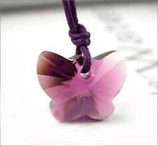 Dark Amethyst Purple Butterfly Crystal 20mm Cord Silver Necklace Pendant Gift UK
