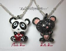 GUESS Exclusive Panda Bella Bear Necklace Collier Rhinestones Logo Heart Gift