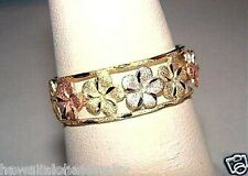 6.5mm Hawaiian 14k Tri-Color Gold Diamond-Cut Matted OW 9 Plumeria Flower Ring