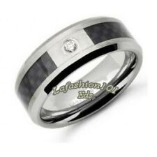 Mens Tungsten Ring w/Black Carbon Fiber Inlay & Clear CZ SIZE 9,10,11,12,13