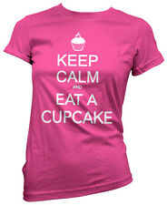 Keep Calm and Eat a Cupcake Cup Cake Womens Bubblegum Pink Girls T-Shirt Top NEW