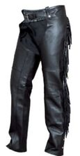 XS to 3XL Fringed Buffalo Leather Ladies Motorcycle Chaps Full Leg Liner AL2407