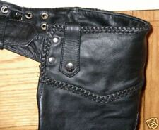 Ladies Black Soft Solid Buffalo Leather Motorcycle Chaps Braid Lined 3XS to 5XL