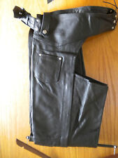 Mens Black Premium Solid Cowhide Leather Motorcycle Chaps Lined Size 2XS to 6XL