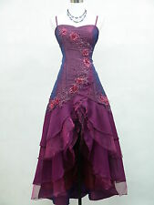 Cherlone Satin Dark Purple Prom Lace Bridesmaids Ball Wedding/Evening Gown Dress