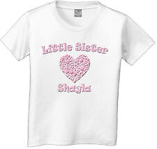 LITTLE SISTER Heart PERSONALIZED with name Girls T-Shirt white grey pink