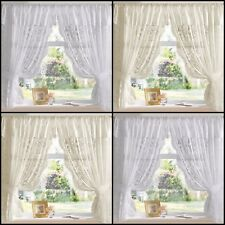 ANDREA JACQUARD LACE NET CURTAIN SET - IN WHITE OR CREAM - MULTIPLE SIZES