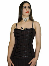 Phaze Clothing Steampunk Emporium Brown Pinstripe Ribbon Laced Bustier Top