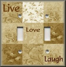 Light Switch Plate Cover - Inspirational Sayings - Live Love Laugh - Tan