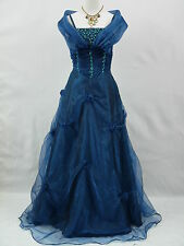 Cherlone Satin Blue Ballgown Wedding/Evening Formal Prom Bridesmaid Gown Dress