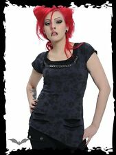 Queen Of Darkness Grey Black Skull Printed Chain Slashed Short Sleeved Top