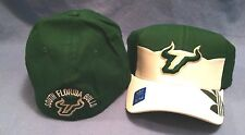 UNIVERSITY OF SOUTH FLORIDA BULLS GREEN/WHITE FLEX FIT CAP BY ADIDAS