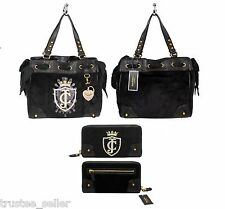 JUICY COUTURE Black  Daydreamer Crown JC Tote Bag W/  Bow Heart Charm & Wallet