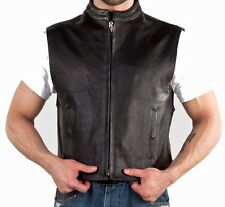 MENS BLACK LEATHER MOTORCYCLE BIKER CLUB VEST ZIP FRONT SOLID BACK FOR PATCHES