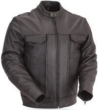 BLACK LEATHER MOTORCYCLE BIKER CRUISING JACKET UTILITY POCKETS FRONT BACK VENTS