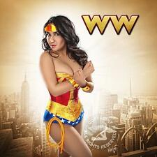 wonder woman corset costume & UPGRADED BRASS CUFFS TIARA  hotpants,briefs,skirt