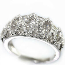 .925 Sterling Silver 2 pointer Simulated Diamond Bridal Engagement Band Ring Set