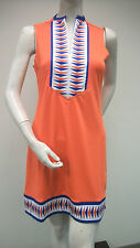 Tracy Negoshian Linda Dress Orange Royal Blue Jersey Knit Sleeveless NEW NWT