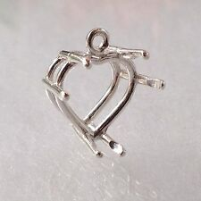 Sterling Silver Heart Dangle Pendant Setting (8mm-16mm)