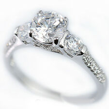 925 Sterling Silver Cubic Zirconia 3 Stone Halo Slim Bridal Engagement Band Ring