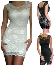 New Womens Ladies Dress Lace BodyCon Zip Back Evening Party Size 8 10 12 14 16