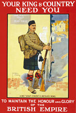 W83 Vintage WWI British Scottish King Country Needs You War Poster WW1 A4