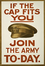 W89 Vintage WWI British If The Cap Fits Enlist Join Army War Poster WW1 A4