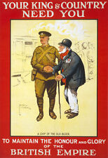W84 Vintage WWI British Empire King & Country Needs You War Poster WW1 A4
