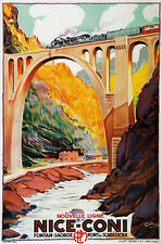 TX97 Vintage Nice Coni France-Italy Railway Travel Poster Re-Print A4
