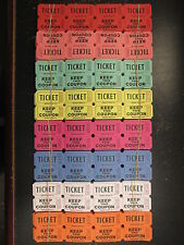 500 50/50 Double Stub Raffle Tickets Split the Pot 8 Color New Carnival Fun Fair