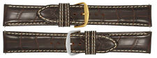 New Men's Alligator Grain Leather Heavy Padded Watch Strap Band