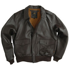 NEW ALPHA INDUSTRIES A-2 GOATSKIN LEATHER AIR FORCE PILOT JACKET BROWN BLACK