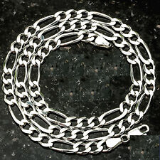 "7MM FIGARO Link Made in Italy SOLID .925 STERLING SILVER CHAIN 18""-34"" FREE SHIP"