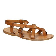 Handmade leather men's sandals in vintage cuir color strappy Made in Italy