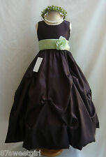 NWT PO1 BROWN / SAGE GREEN DAVIDS WEDDING CHRISTMAS PAGEANT FLOWER GIRL DRESS