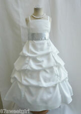 SPU IVORY SILVER WEDDING PARTY RECITAL GOWN PAGEANT FLOWER GIRL DRESS