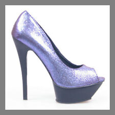 DESIGNER GLITTER DAZZLING BLUE OPEN TOE PLATFORM STILETTO HIGH HEEL PUMPS SHOES
