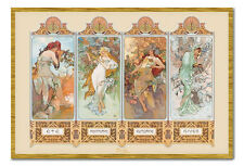 Alphonse Mucha 4 Seasons Art Nouveau Magnetic Notice Board Includes Magnets