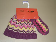 Missoni Target Baby Girl Purple Pink Zig Zag Stripe Hat Mittens Set Toddler O/S
