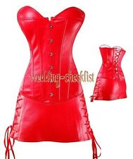 Red Faux Leather CORSET Dress GOTHIC Bustier  Size S-6XL Waist Shaper WC-v917_r