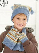 BoysNext BNWT Blue fairl isle hat,mittens and scarf set age 1 - 2 & 3-6 years