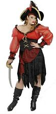 Buccaneer Beauty Pirate Black Red Plus Size Dress Up Halloween Adult Costume