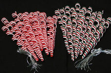 Lot 24 Corkscrew Spiral Peppermint CANDY CANE Tree ORNAMENTS Acrylic Glass Red